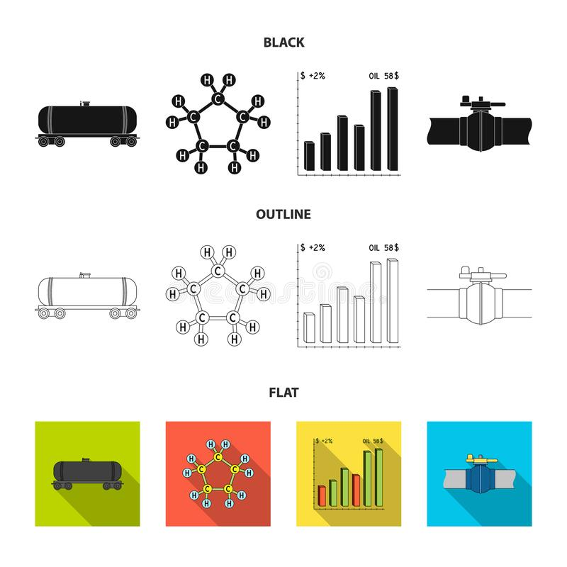 Railway tank, chemical formula, oil price chart, pipeline valve. Oil set collection icons in black,flat,outline style. Vector symbol stock illustration royalty free illustration