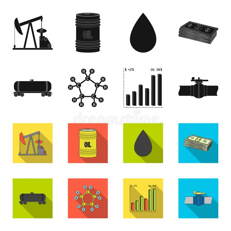 Railway tank, chemical formula, oil price chart, pipeline valve. Oil set collection icons in black,flet style vector vector illustration