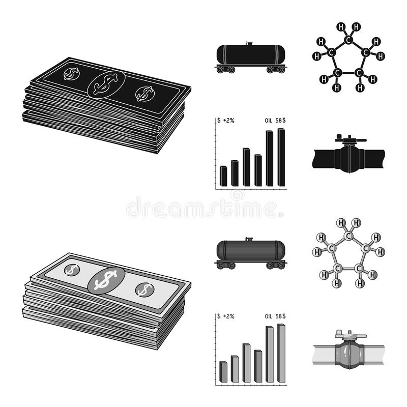 Railway tank, chemical formula, oil price chart, pipeline valve. Oil set collection icons in black,monochrom style stock illustration