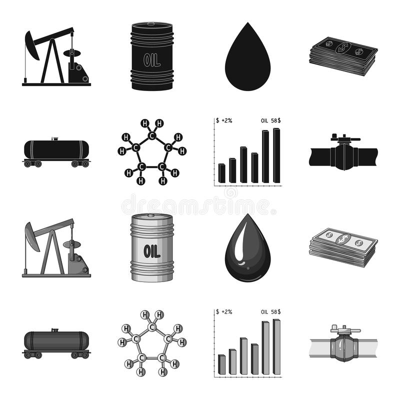 Railway tank, chemical formula, oil price chart, pipeline valve. Oil set collection icons in black,monochrome style royalty free illustration