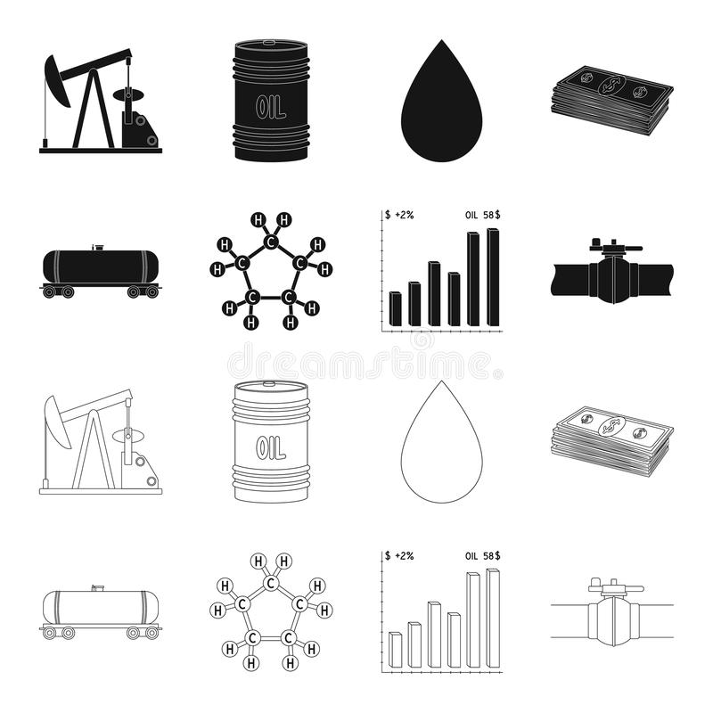 Railway tank, chemical formula, oil price chart, pipeline valve. Oil set collection icons in black,outline style vector royalty free illustration