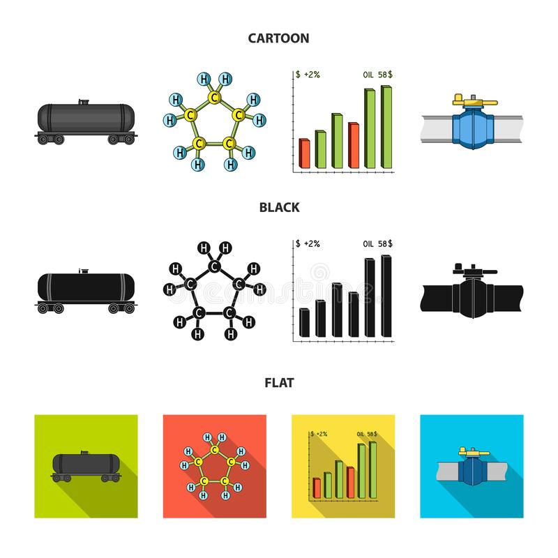 Railway tank, chemical formula, oil price chart, pipeline valve. Oil set collection icons in cartoon,black,flat style vector illustration