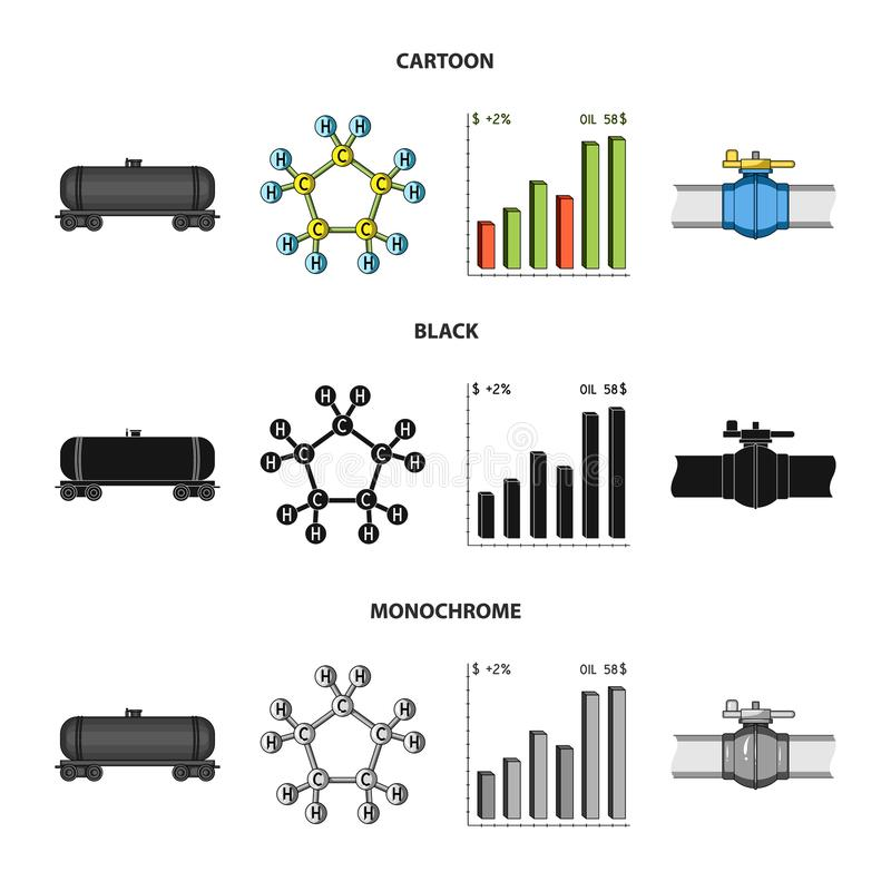 Railway tank, chemical formula, oil price chart, pipeline valve. Oil set collection icons in cartoon,black,monochrome royalty free illustration