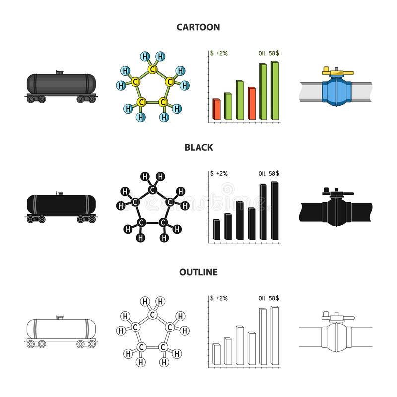 Railway tank, chemical formula, oil price chart, pipeline valve. Oil set collection icons in cartoon,black,outline style royalty free illustration