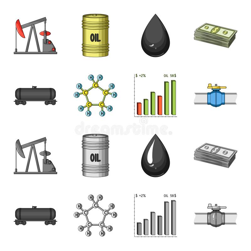 Railway tank, chemical formula, oil price chart, pipeline valve. Oil set collection icons in cartoon,monochrome style. Vector symbol stock illustration stock illustration