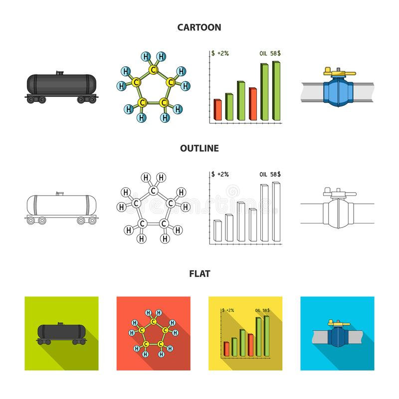 Railway tank, chemical formula, oil price chart, pipeline valve. Oil set collection icons in cartoon,outline,flat style royalty free illustration