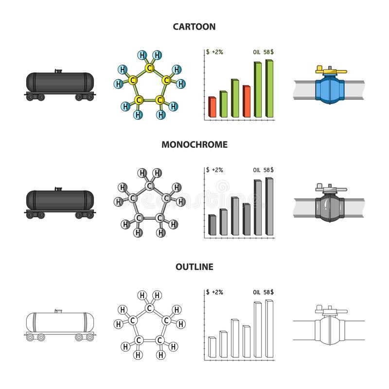 Railway tank, chemical formula, oil price chart, pipeline valve. Oil set collection icons in cartoon,outline,monochrome vector illustration