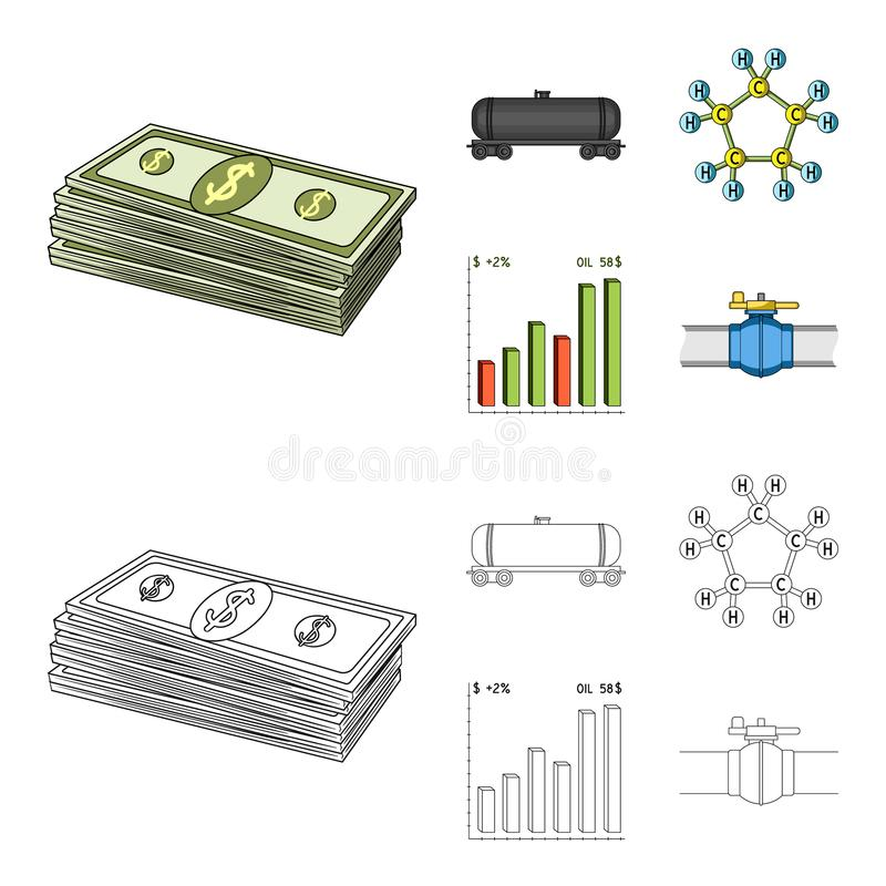 Railway tank, chemical formula, oil price chart, pipeline valve. Oil set collection icons in cartoon,outline style stock illustration