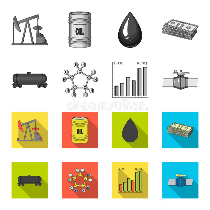 Railway tank, chemical formula, oil price chart, pipeline valve. Oil set collection icons in monochrome,flat style royalty free illustration