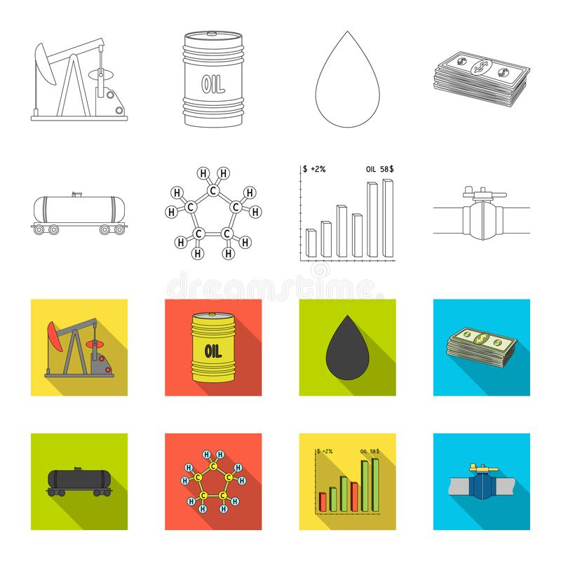 Railway tank, chemical formula, oil price chart, pipeline valve. Oil set collection icons in outline,flat style vector stock illustration