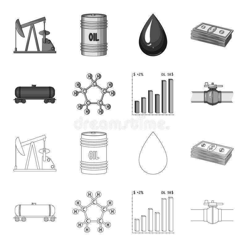 Railway tank, chemical formula, oil price chart, pipeline valve. Oil set collection icons in outline,monochrome style. Vector symbol stock illustration stock illustration
