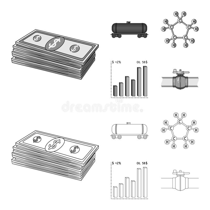 Railway tank, chemical formula, oil price chart, pipeline valve. Oil set collection icons in outline,monochrome style. Vector symbol stock illustration vector illustration