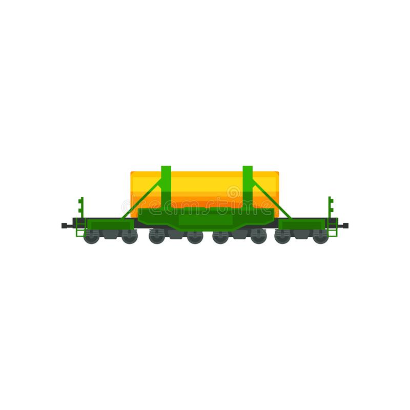 Railway tank for transportation of petroleum products, heavy railway transport vector Illustration on a white background stock illustration