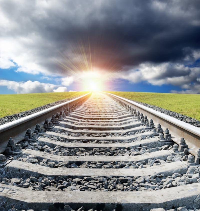 Railway To Sunset Stock Photo