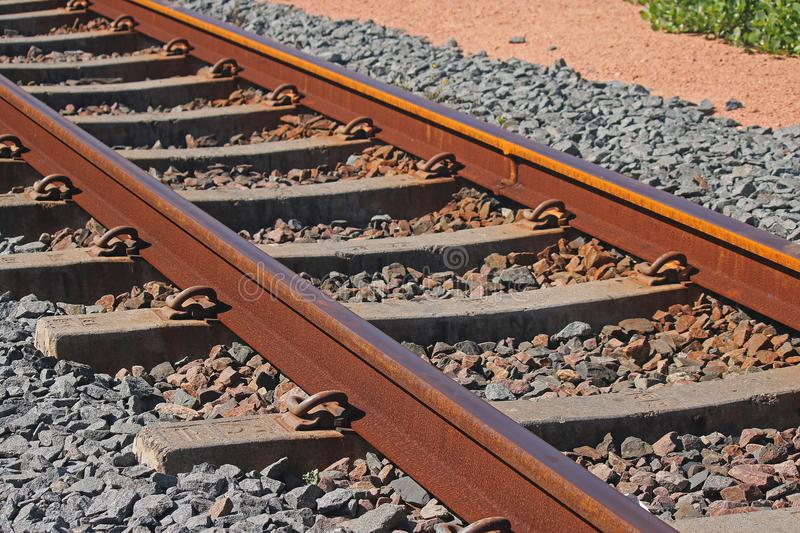 RAILWAY TRACK AT THE COAST stock images