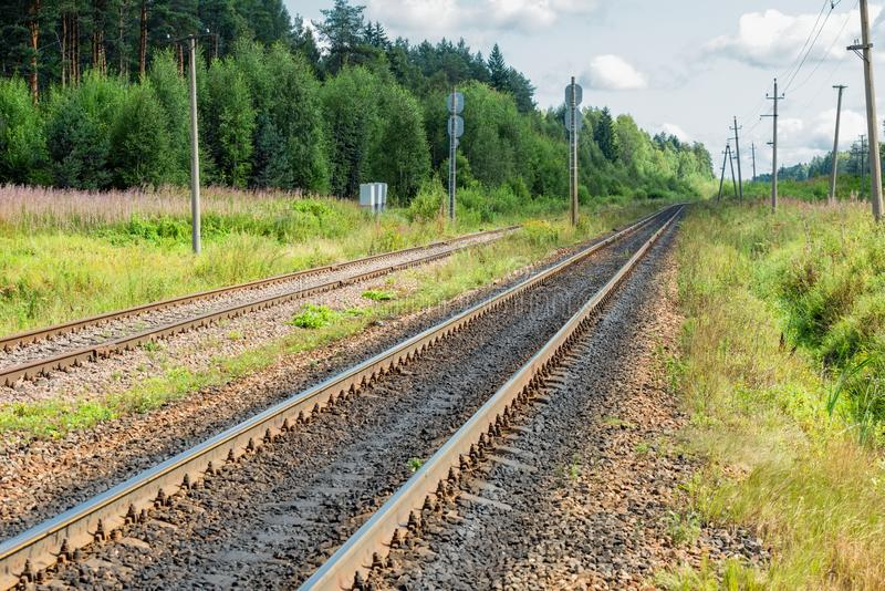Railway track goes beyond the horizon. Through the forest royalty free stock photography