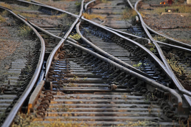 The railway track merging, Set of Points on Railway Train Track royalty free stock images