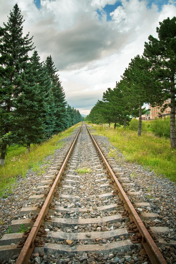 Railway Track In Perspective Stock Photography