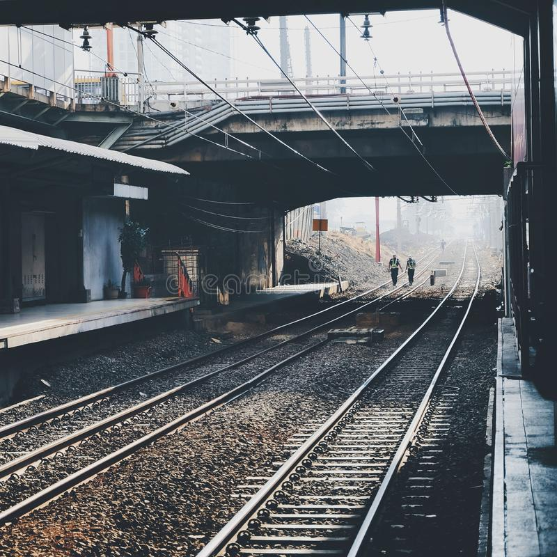 Railway track. Railway in station royalty free stock photo