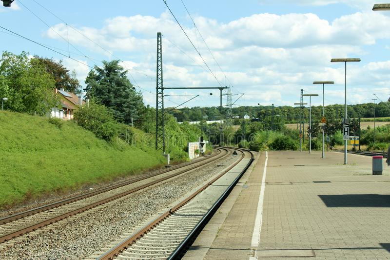 Railway track and station single and multiple tracks Railroad Waiting for the train stock image