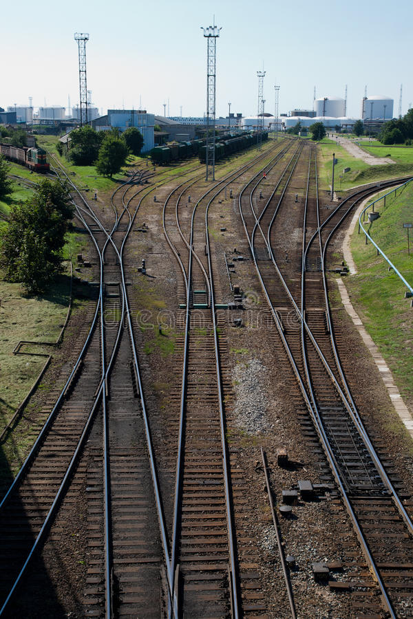 Railway track to the port royalty free stock photo