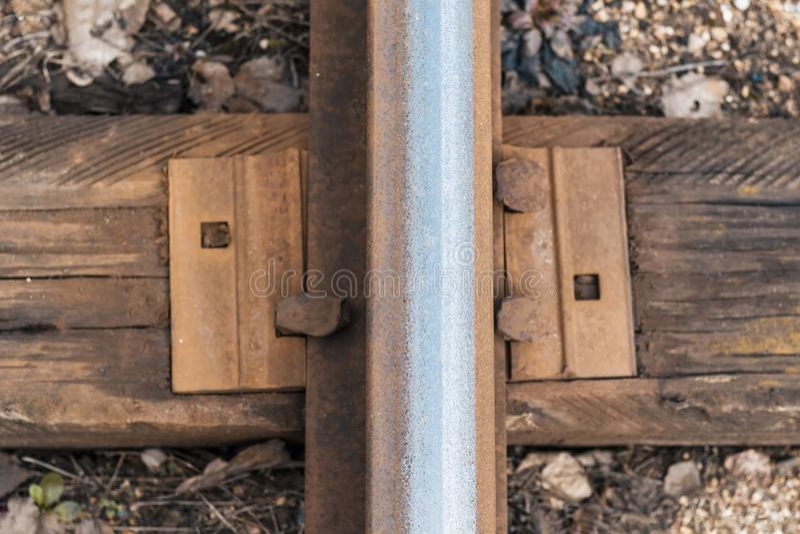 railway track. wood sleeper close-up. have toning royalty free stock photos