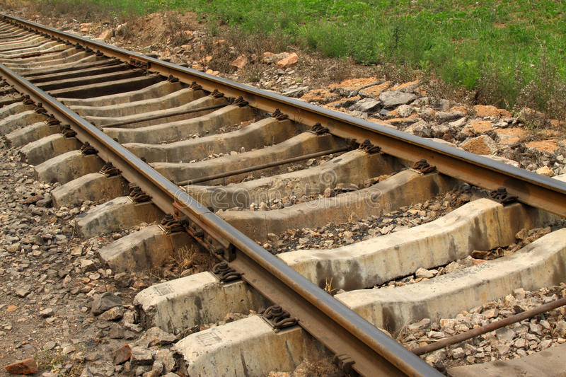 Railway tracks. Closeup of railway tracks, Chinese traditional types of railway track, in china stock images