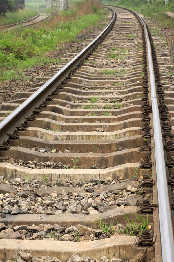 Railway tracks. Closeup of railway tracks, Chinese traditional types of railway track, in china stock photos
