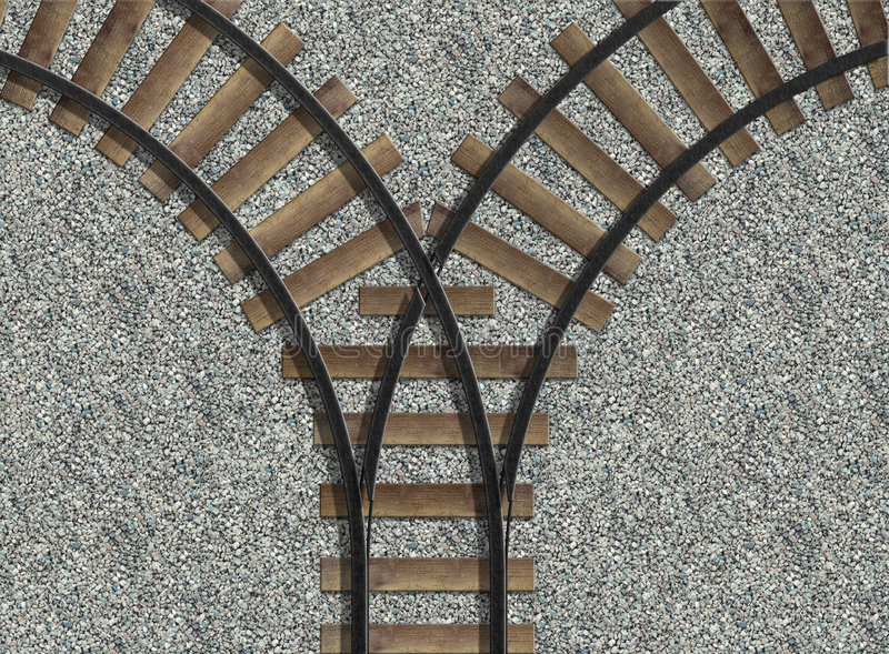 Railway Tracks. An illustrated photo background of train tracks on gravel stock illustration