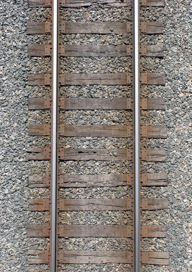 Railway Tracks. An aerial view of a section of old weathered railway tracks stock image