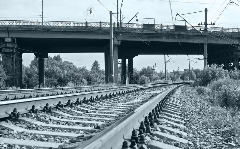 Download Railway Tracks And Bridge In Soft Blue Tint Stock Image - Image of blue, bend: 18066993
