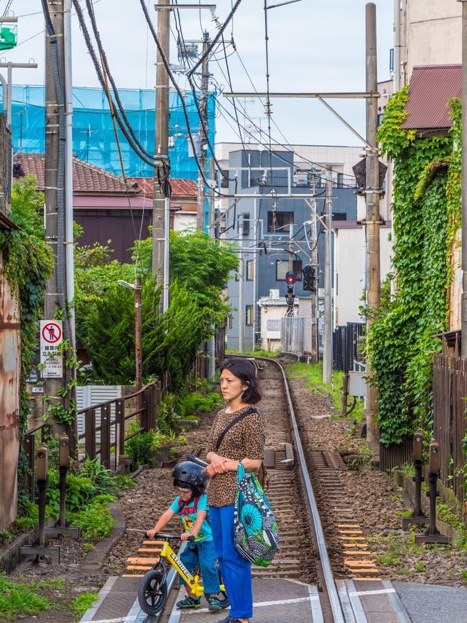 Railway Tracks in Kamakura - Japan Rail - TOKYO, JAPAN - JUNE 12, 2018 royalty free stock photography