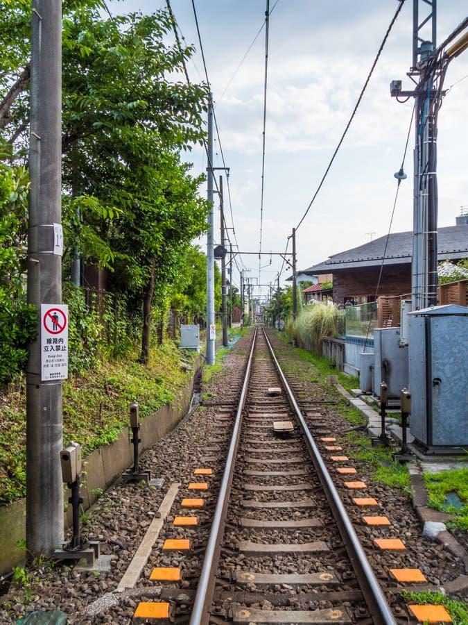 Railway Tracks in Kamakura - Japan Rail - TOKYO, JAPAN - JUNE 12, 2018 stock images