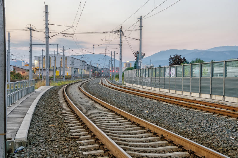 Download Railway Tracks stock image. Image of city, evening, empty - 34123393