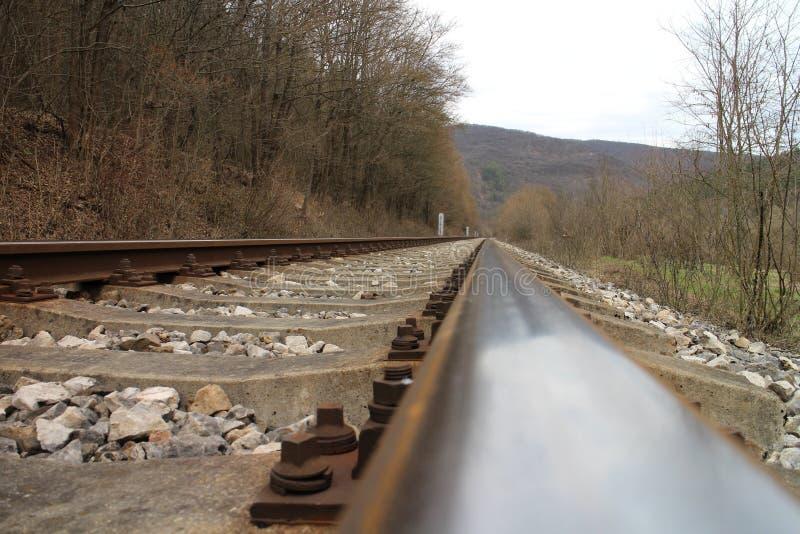 Railway tracks near Castle of Countess Elisabeth Báthory, Čachtice royalty free stock photography