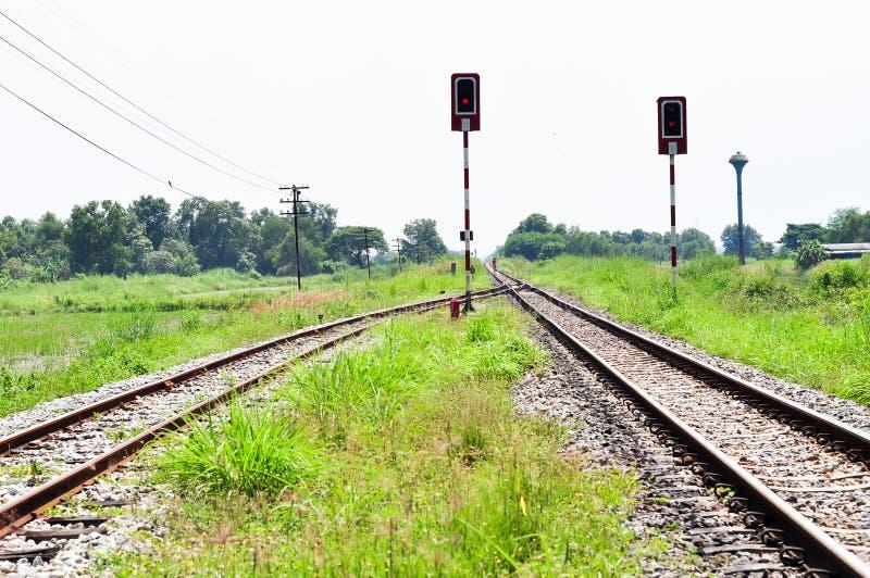 Railway Tracks In A Rural Scene Royalty Free Stock Photo