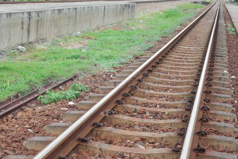 Railway tracks :Select focus with shallow depth of field. stock photos