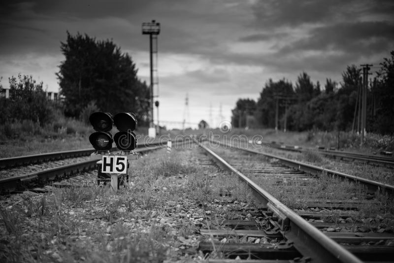 Railway tracks railway station light blue railway stock image