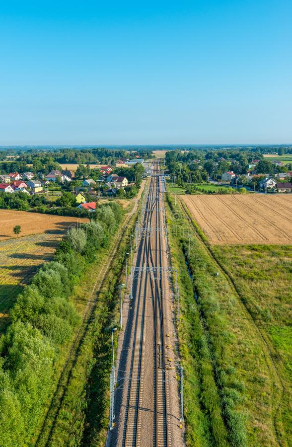 Railway tracks - view from the drone stock images