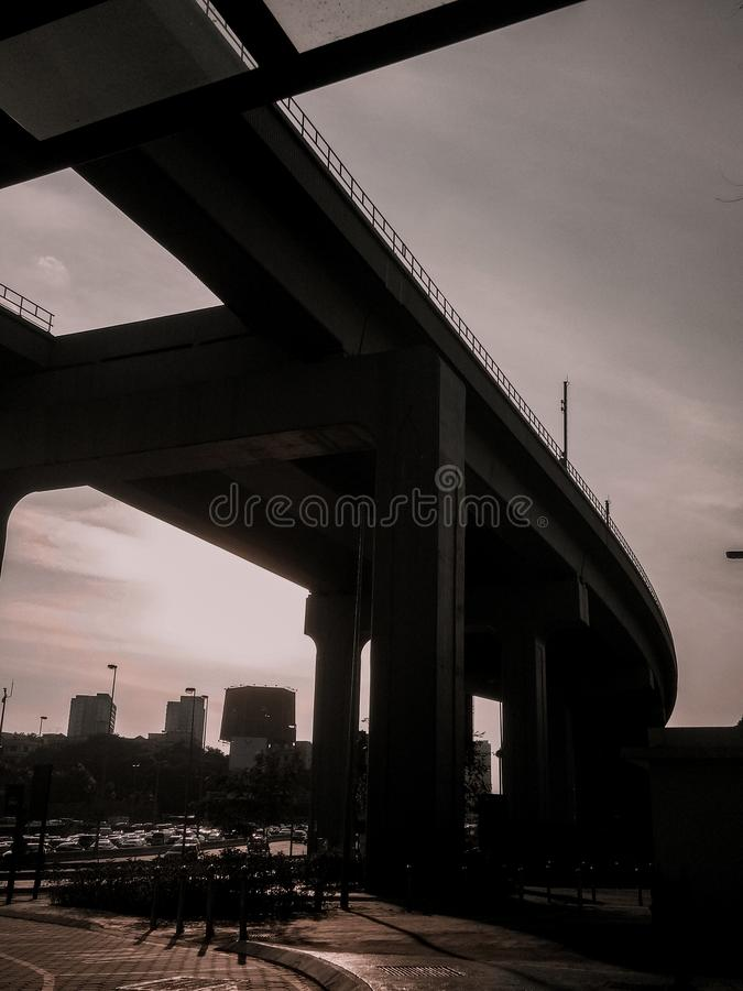 The railway train track during golden hour royalty free stock images