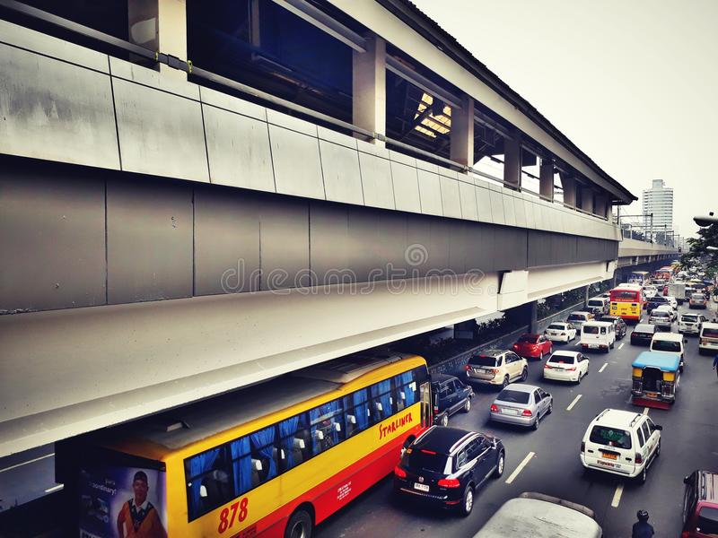 railway transit along pedro gil area in manila stock photography
