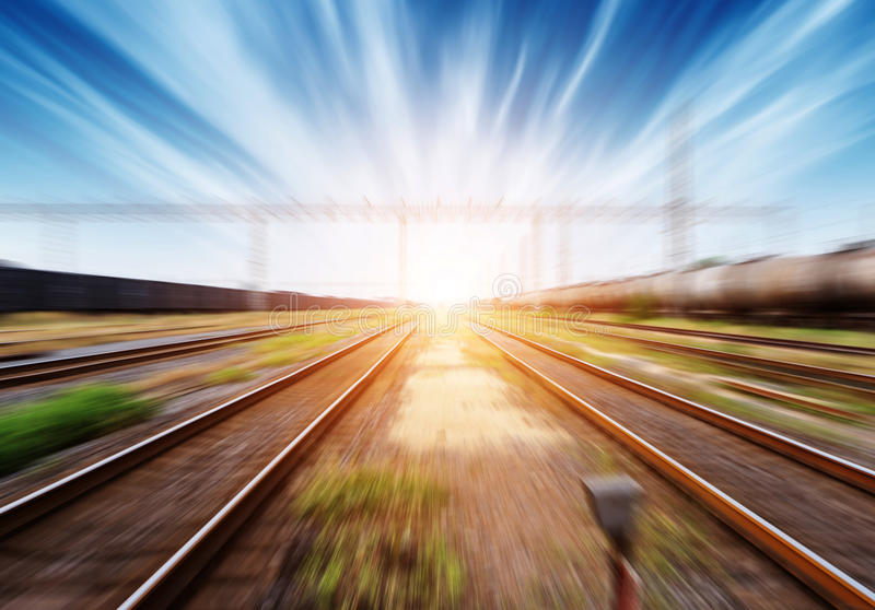 Railway. Transport hub, motion blur picture, twilight landscape stock photos