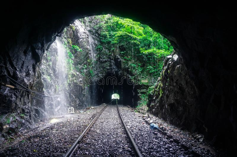 Railway tunnel in the Indian jungle royalty free stock images