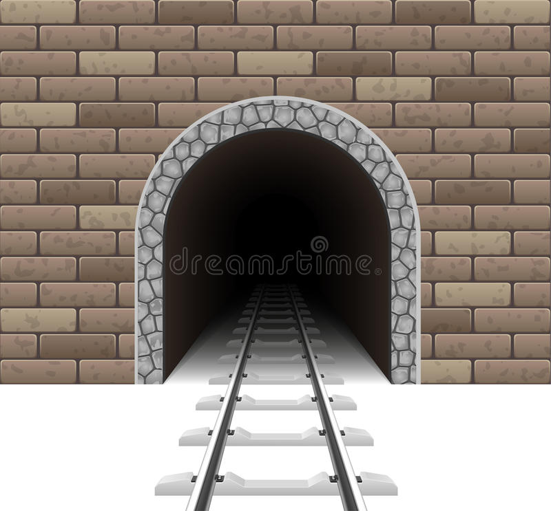 Railway tunnel vector illustration. On white background