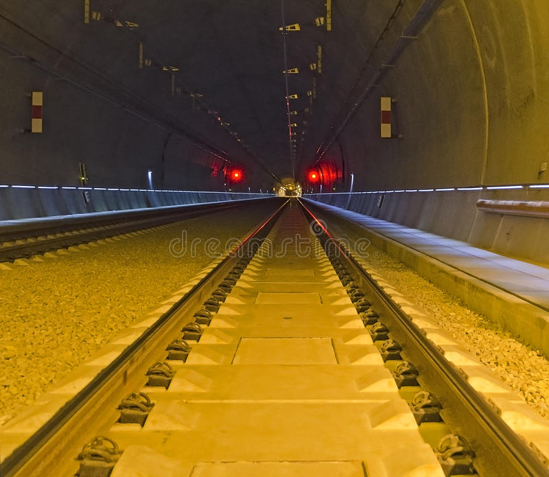 Railway tunnel in Vienna. (Lainzer tunnel), connection to the main train station, Austria stock image
