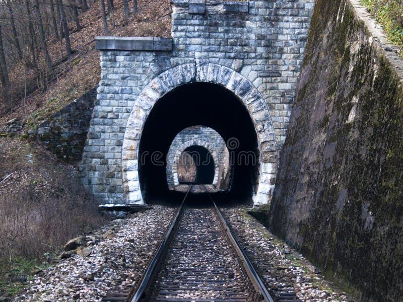 Railway tunnels before train stock photo