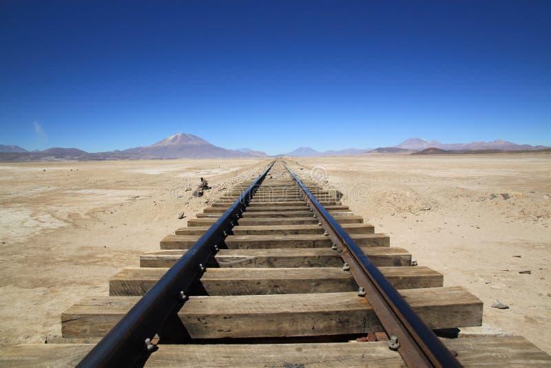 Railway through Uyuni Salt Flats, Bolivia stock image