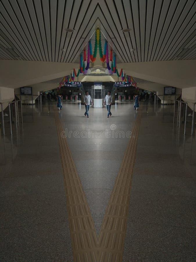 RAILWAY. Walking through the metro station of banglore india stock photo