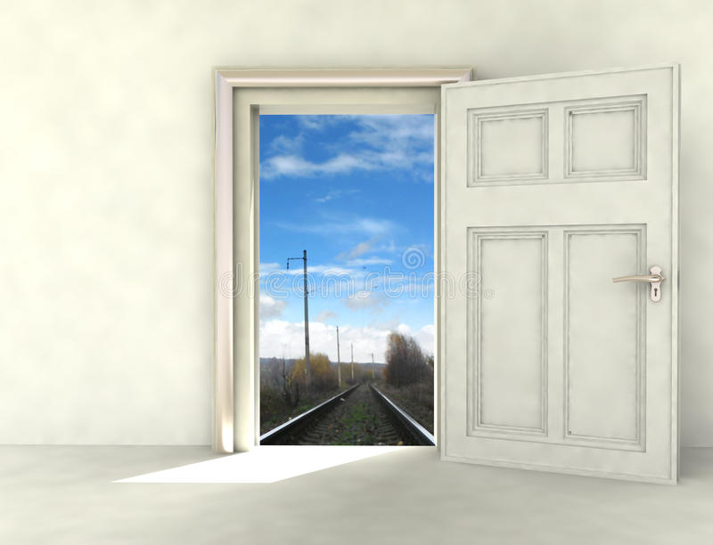 Download Railway Way From White Room Photomontage Stock Illustration - Image: 27943814