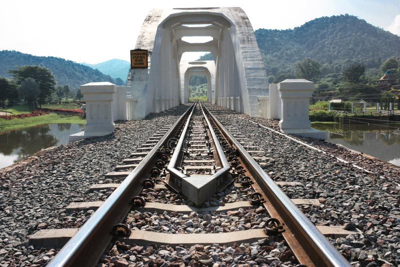 Railway, The White Bridge Tum Phu Village, Takapak District, Lamphun Province Thailand royalty free stock photo